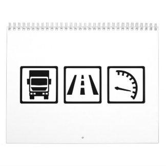 Iconos del camionero calendario