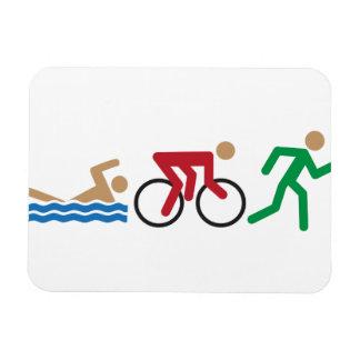 Iconos del logotipo del Triathlon en color Rectangle Magnet