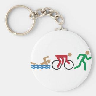 Iconos del logotipo del Triathlon en color Llavero Redondo Tipo Pin