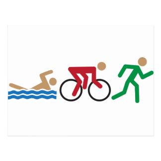 Iconos del logotipo del Triathlon en color Tarjetas Postales