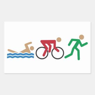 Iconos del logotipo del Triathlon en hoja del pega