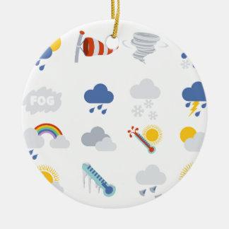 Iconos del tiempo adorno navideño redondo de cerámica