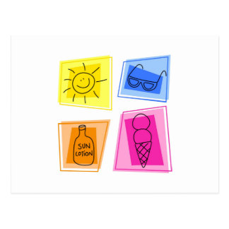 iconos del verano tarjeta postal