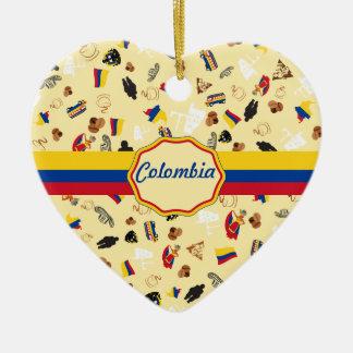 Iconos famosos de Colombia con la bandera de la Adorno Navideño De Cerámica En Forma De Corazón