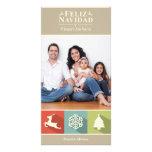 Iconos Feliz Navidad del día de fiesta (beige) Tarjetas Fotograficas Personalizadas