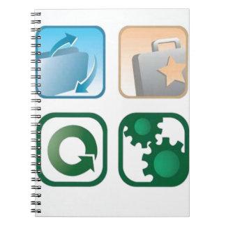 Iconos hermosos del vector cuaderno
