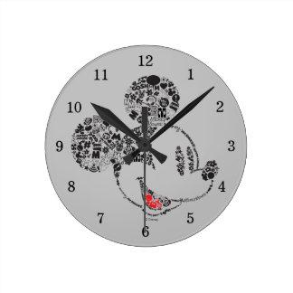 Iconos y frases de moda de Mickey el   Reloj Redondo Mediano