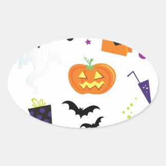 Icons halloween oval sticker
