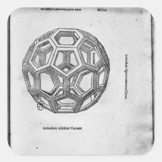 Icosahedron, de 'De Divina Proportione' Pegatina Cuadrada