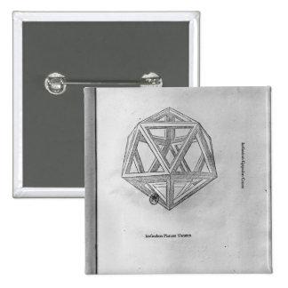 Icosahedron, from 'De Divina Proportione' 2 Inch Square Button