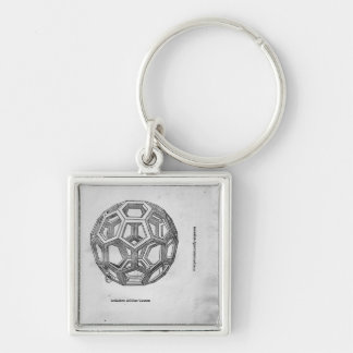 Icosahedron, from 'De Divina Proportione' Silver-Colored Square Keychain