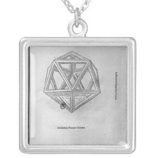 Icosahedron, from 'De Divina Proportione' Square Pendant Necklace