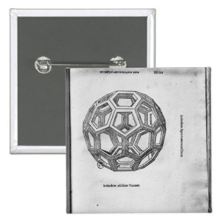Icosahedron, from 'De Divina Proportione' Pinback Button