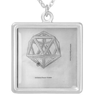 Icosahedron, from 'De Divina Proportione' Silver Plated Necklace