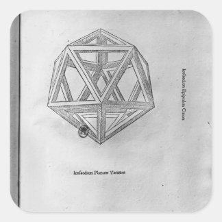 Icosahedron, from 'De Divina Proportione' Square Sticker