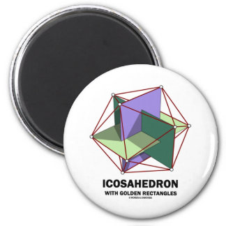 Icosahedron With Golden Rectangles (Geometry) 2 Inch Round Magnet