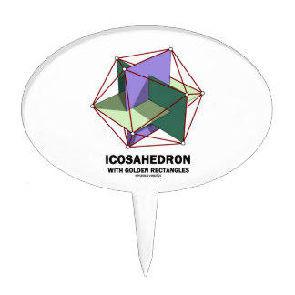 Icosahedron With Golden Rectangles (Geometry) Cake Topper
