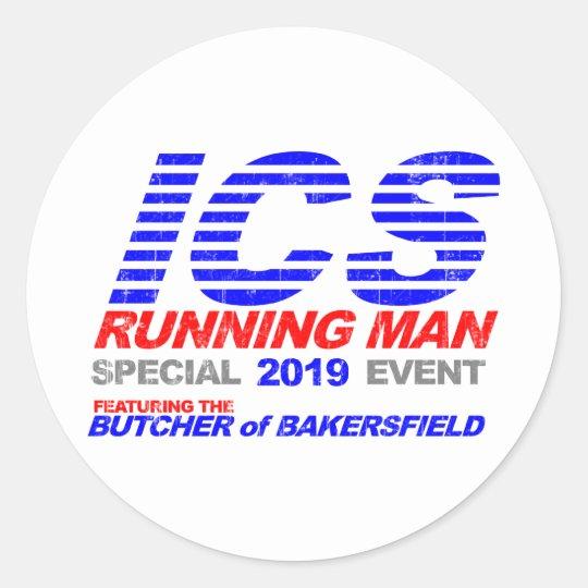 ICS Running Man Faded Classic Round Sticker