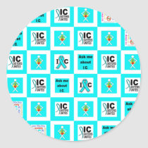 ICSU Tiles Pattern Classic Round Sticker