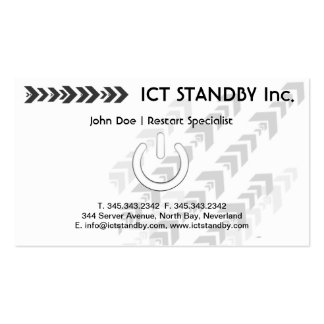 """ICT business card Standby or """"on and off"""" symbol"""