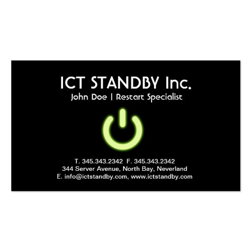 ICT cool green glow business card Standby