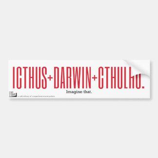 Icthus + Darwin + Cthulhu Pegatina Para Auto