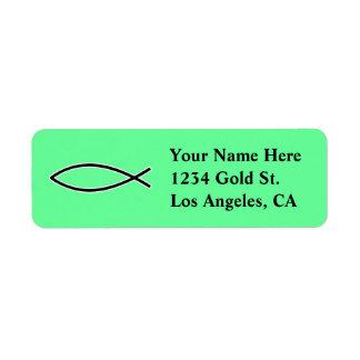 Icthus - símbolo cristiano de los pescados etiqueta de remite