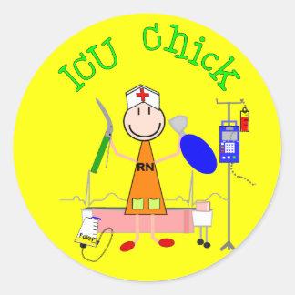 ICU Chick (Nurse) Classic Round Sticker