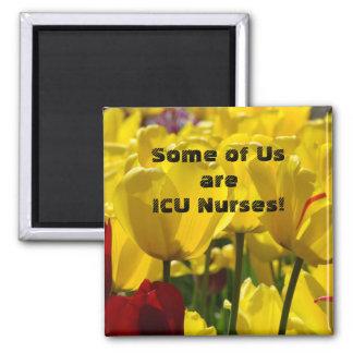 ICU cuida el cuidado amarillo de las flores del Imán Cuadrado