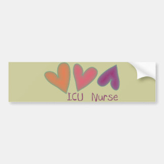 ICU Nurse 3 Hearts Bumper Sticker