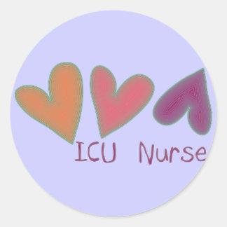ICU Nurse 3 Hearts Classic Round Sticker
