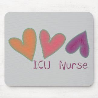 ICU Nurse 3 Hearts Mouse Pad