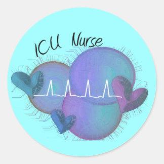 ICU NURSE Gifts--Artsy Design Classic Round Sticker