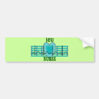 ICU Nurse Gifts,  QRS & Heart Design Bumper Sticker