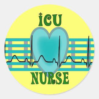 ICU Nurse Gifts,  QRS & Heart Design Classic Round Sticker
