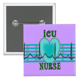 ICU Nurse Gifts,  QRS & Heart Design Pinback Button