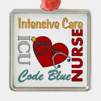ICU - Nurse Square Metal Christmas Ornament