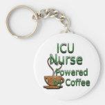 ICU Nurse Powered by Coffee Basic Round Button Keychain