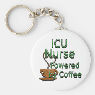 ICU Nurse Powered by Coffee Keychain