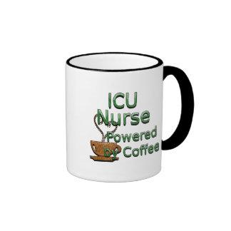ICU Nurse Powered by Coffee Ringer Mug
