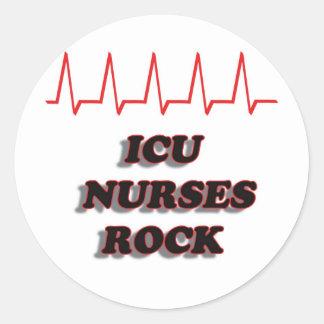 ICU NURSES ROCK CLASSIC ROUND STICKER