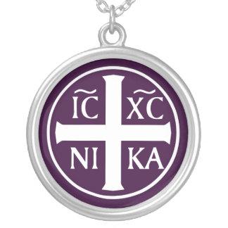 ICXC NIKA Christian Orthodox Religious Christogram Round Pendant Necklace