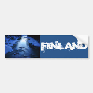 Icy and snowy river with winter blue bumper sticker