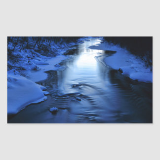 Icy and snowy river with winter blue rectangular sticker