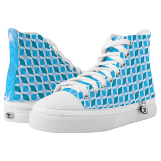 Icy Aqua Blue Turquoise Diamond Pattern High-Top Sneakers