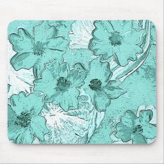 Icy aqua floral fantasy mouse pad