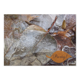 Icy Autumn Leaves Party Card