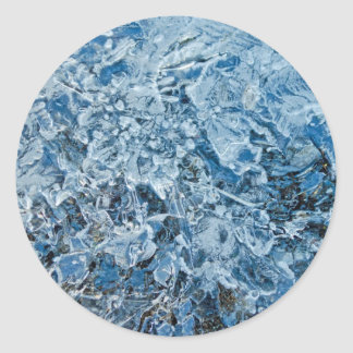 Icy blue abstract classic round sticker
