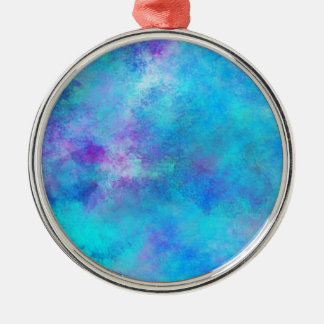 Icy Blue Abstract Design Metal Ornament