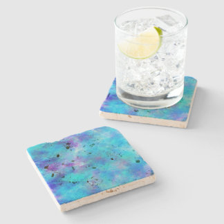 Icy Blue Abstract Design Stone Coaster